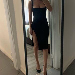 PrettyLittleThing black midi dress